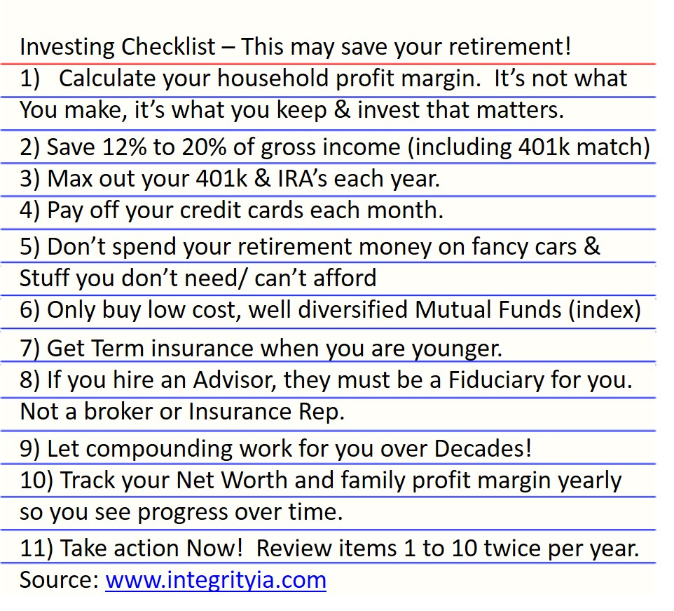retirement checklist integrityia